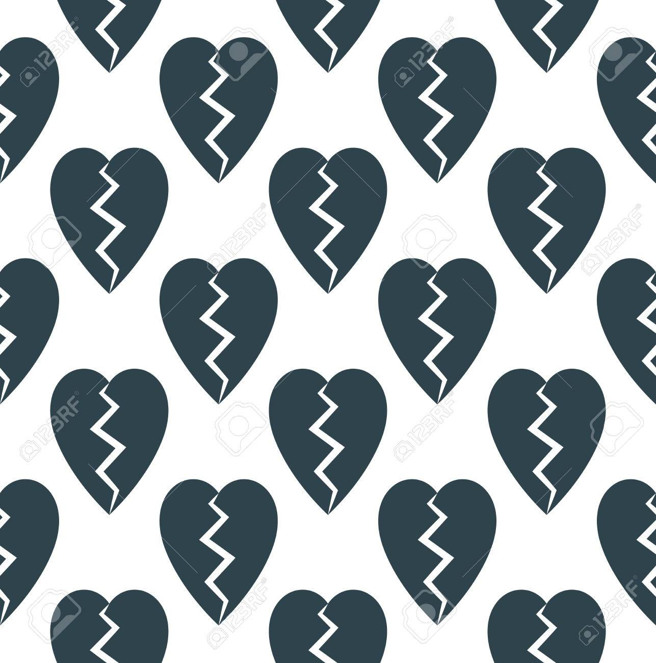 Abstract Black Retro Broken Heart Love Texture Background Wallpaper Vector Stock