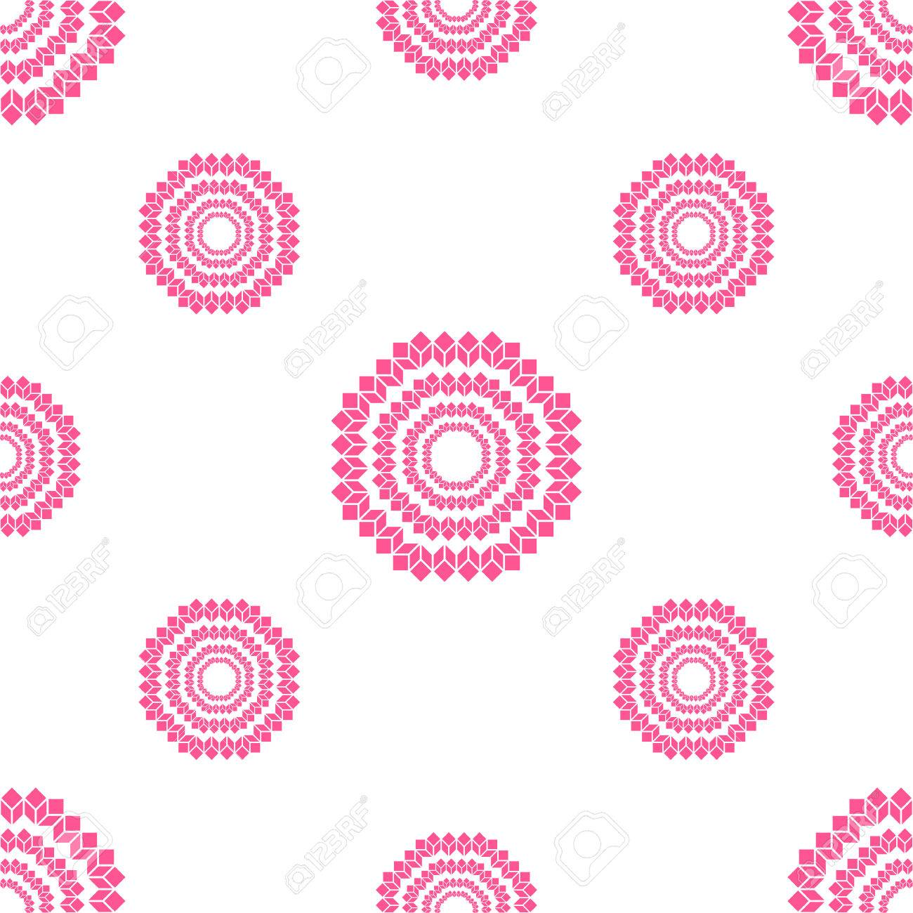 Pink Geometric Flower Wallpaper Pattern Isolated On White Background