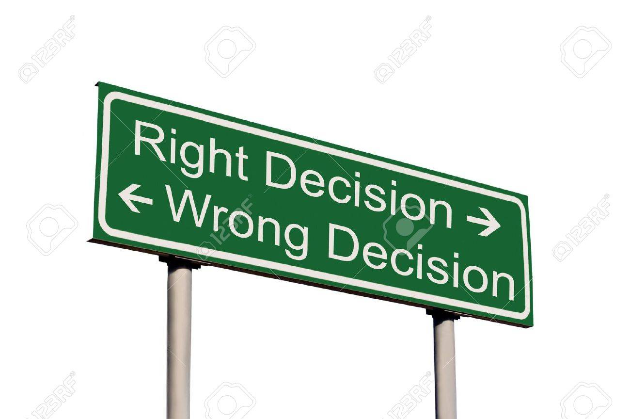 Right and Wrong Decision Road Sign Isolated - 5512641