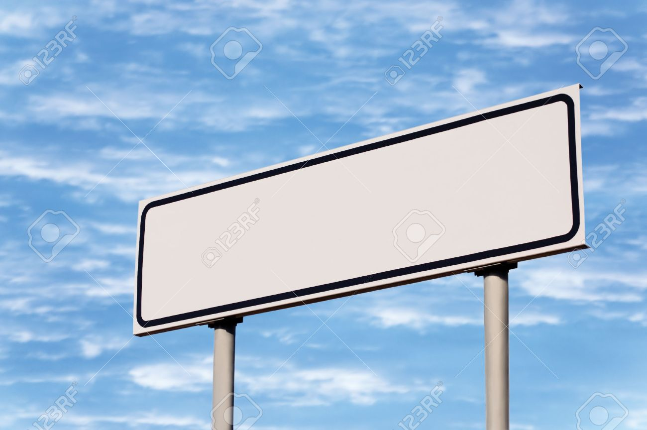 Blank road sign against sky; simply put your text there Stock Photo - 5994207