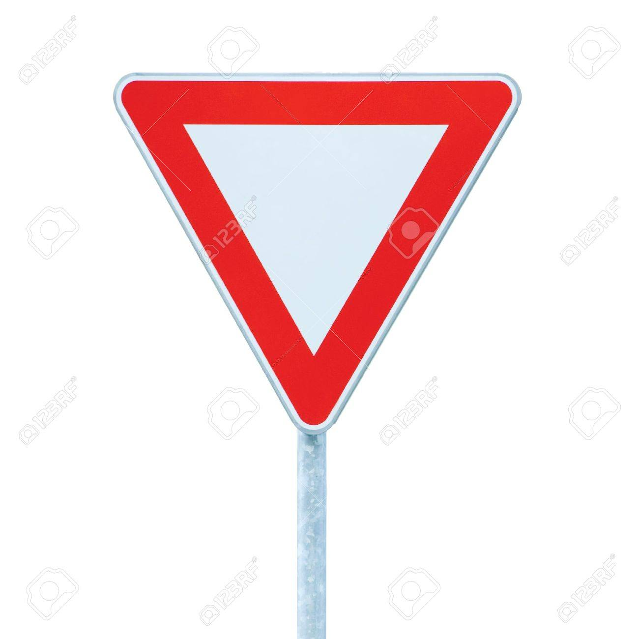 Give way priority yield road traffic roadsign sign, isolated Stock Photo - 6809858