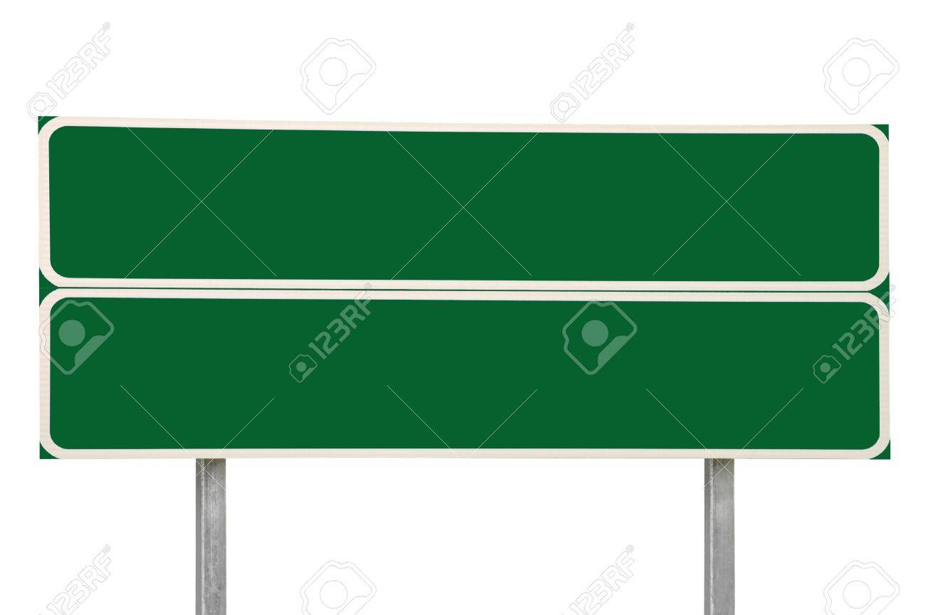 Two Crossroads Road Signs, Green Isolated Stock Photo - 8004540