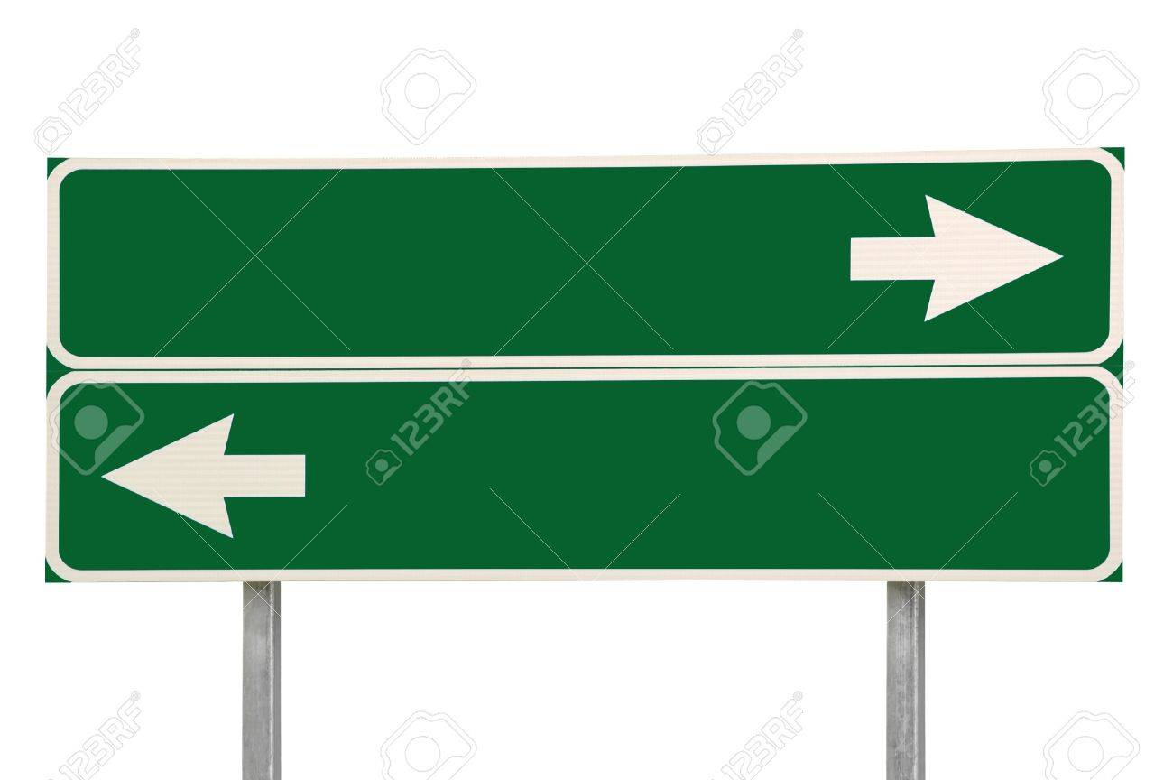 Crossroads Road Sign, Two Arrow Green Isolated - 8101390
