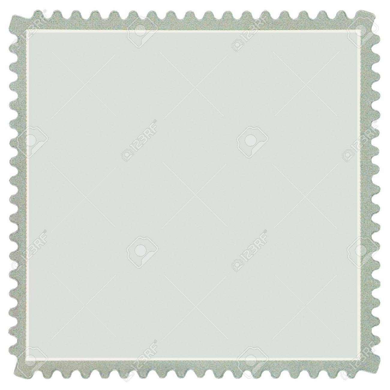 Square Blank Postage Stamp, Light Pale Green Macro, Isolated Stock Photo - 8101392
