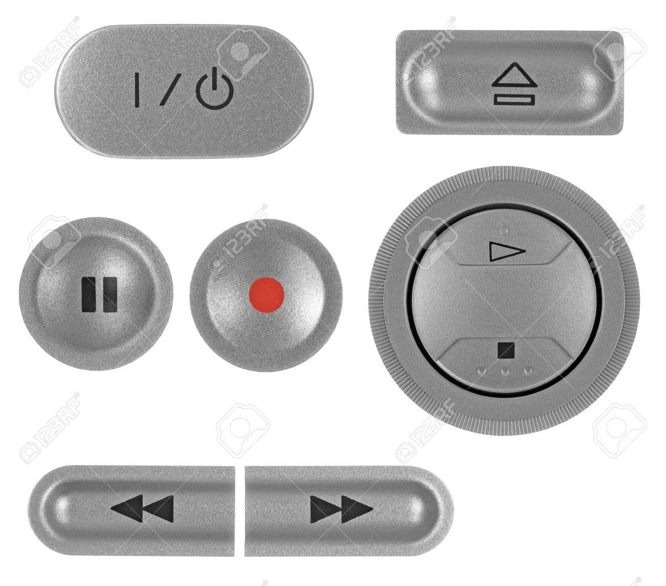 Natural silver grey metallic DVD recorder buttons set, isolated macro closeup Stock Photo - 8497177