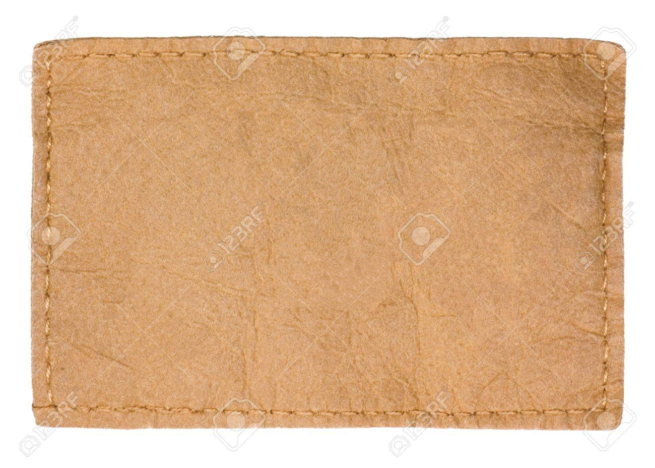 Light Blank Natural Leather Jeans Tag Label, Isolated Closeup Stock Photo - 9280709