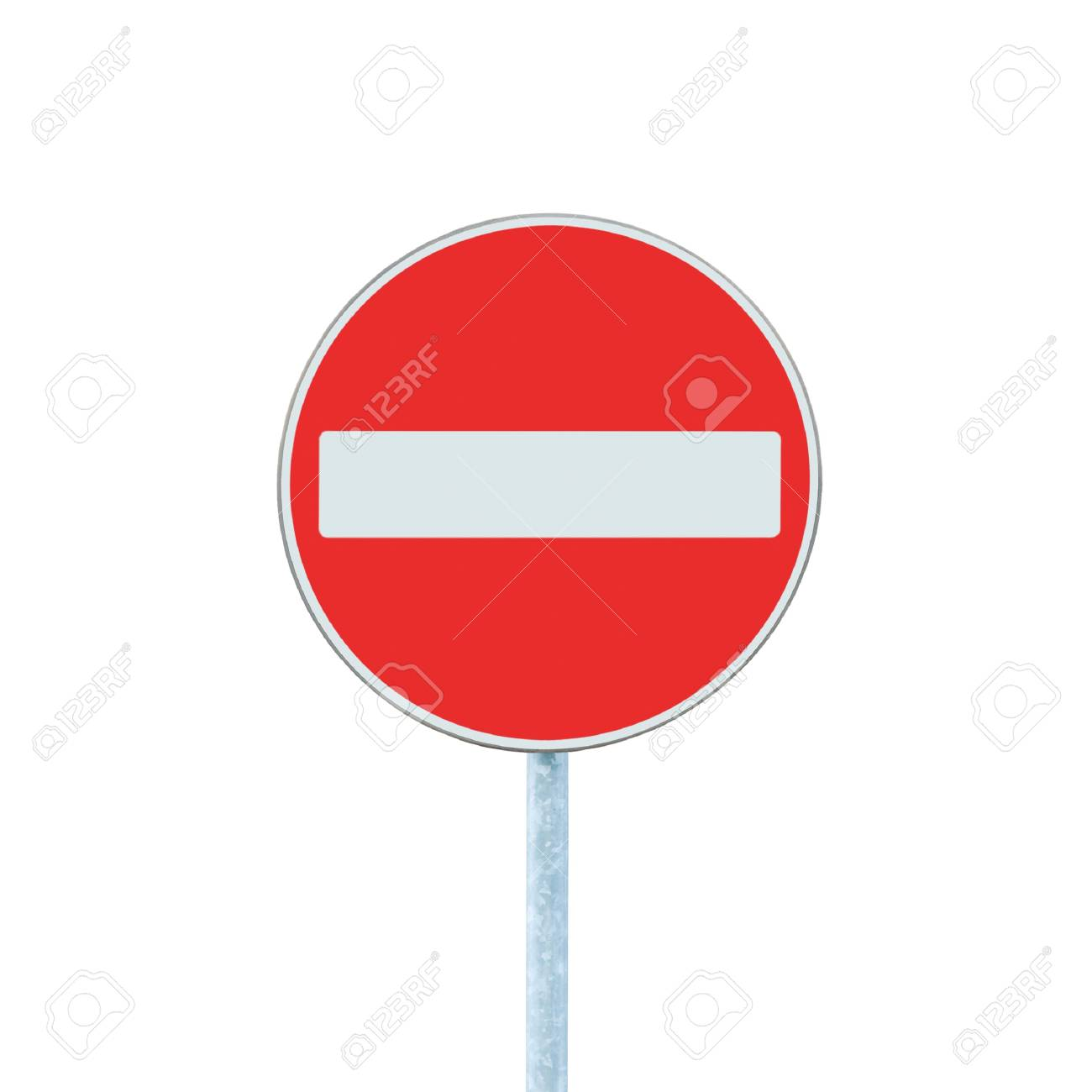 No Entry Sign, road traffic warning and pole, isolated Stock Photo - 9280696