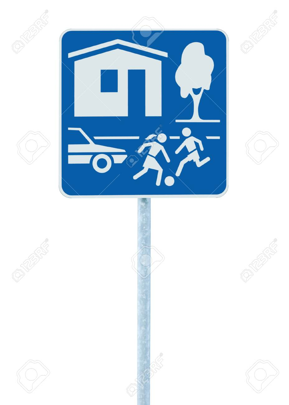 Home Zone Entry Sign, isolated residential area road traffic roadsign Stock Photo - 9584285