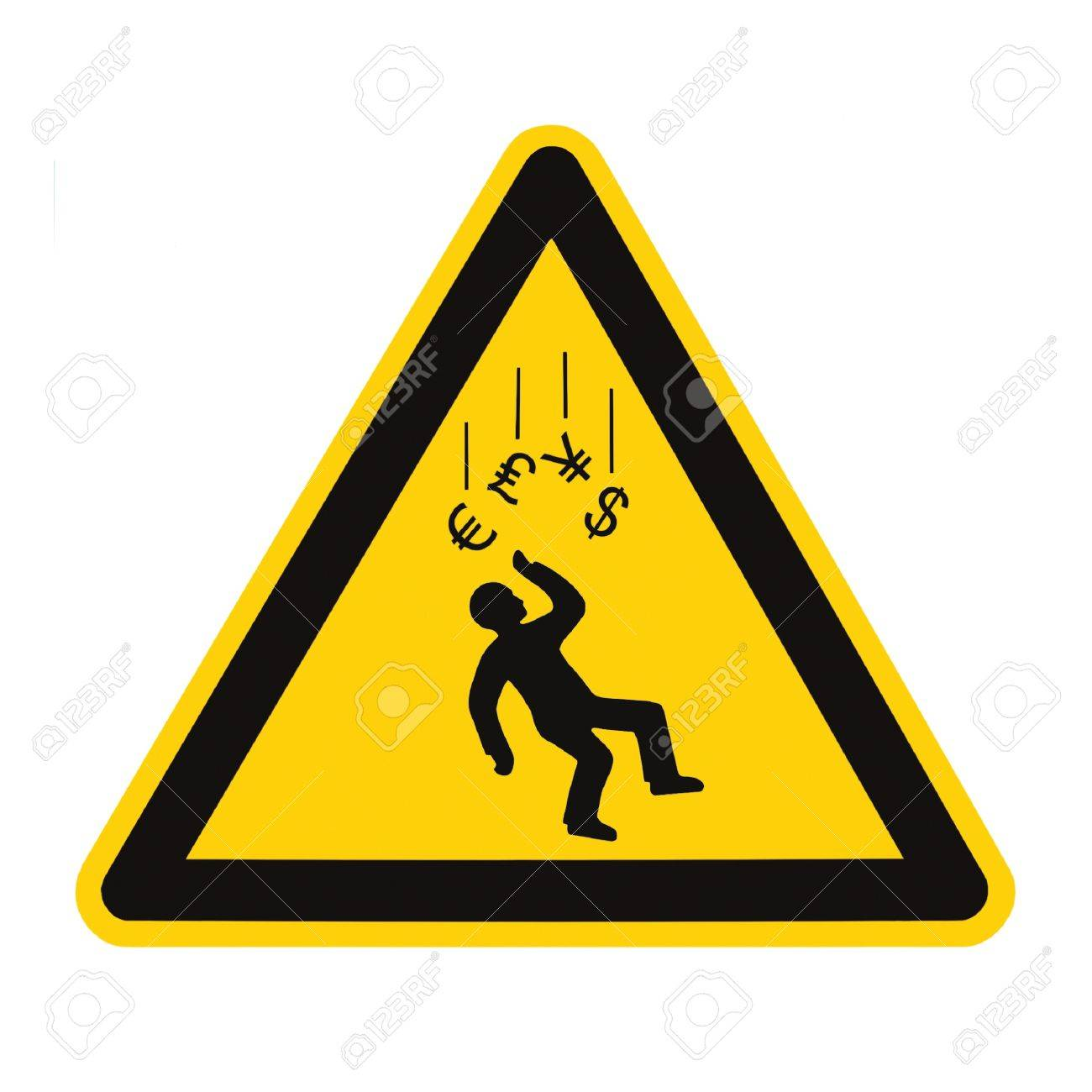 Danger Falling Currencies Objects Warning Sign Concept Isolated, black drop triangle over yellow, large macro, US Dollar, EU Euro, British Pound, Japanese Yen Currency Stock Photo - 12194499