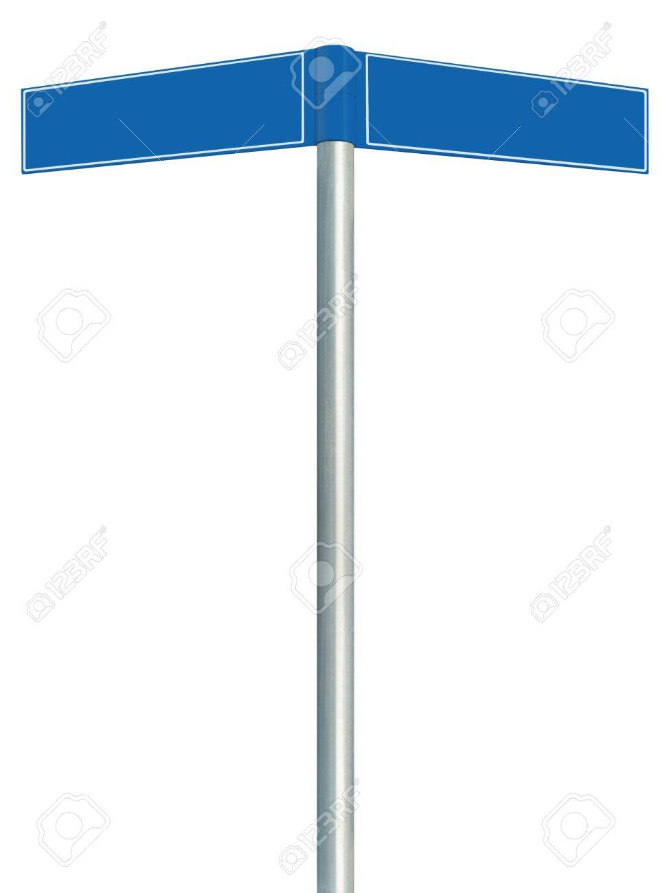 blue direction road signs two empty blank signpost signages