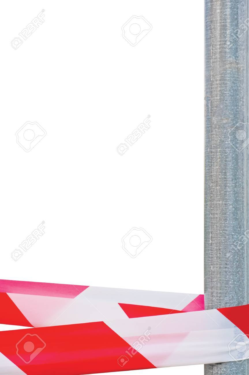 Red White Do Not Cross Headband Ribbon Tape And Metallic Post, Isolated Grey Construction Site Metal Pole, Crime Scene Marking Vertical Closeup Stock Photo - 14321740
