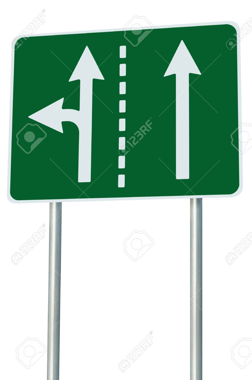 Appropriate traffic lanes at crossroads junction, left turn exit ahead Stock Photo - 14321730