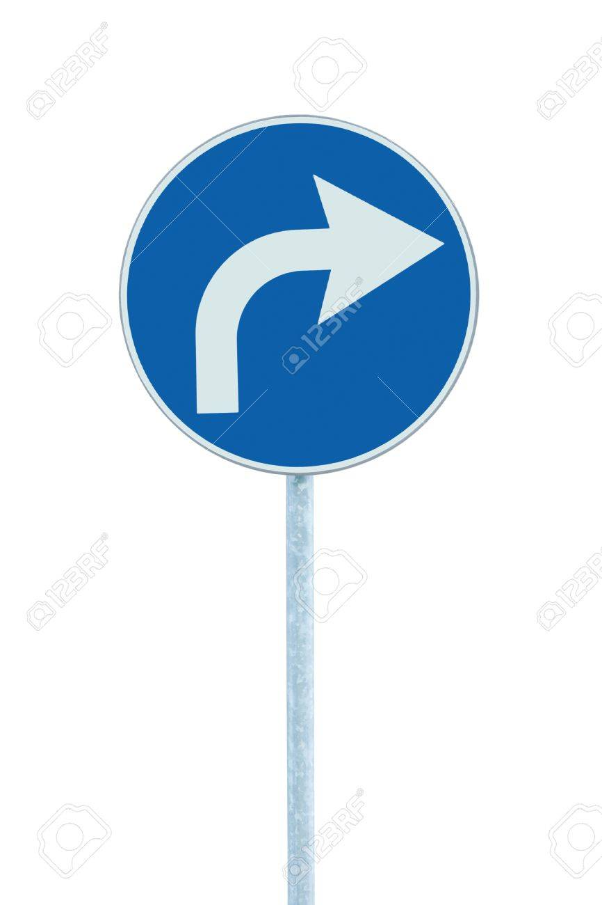 Turn right ahead sign, blue round isolated roadside traffic signage, white arrow icon and frame roadsign, grey pole post Stock Photo - 14691622