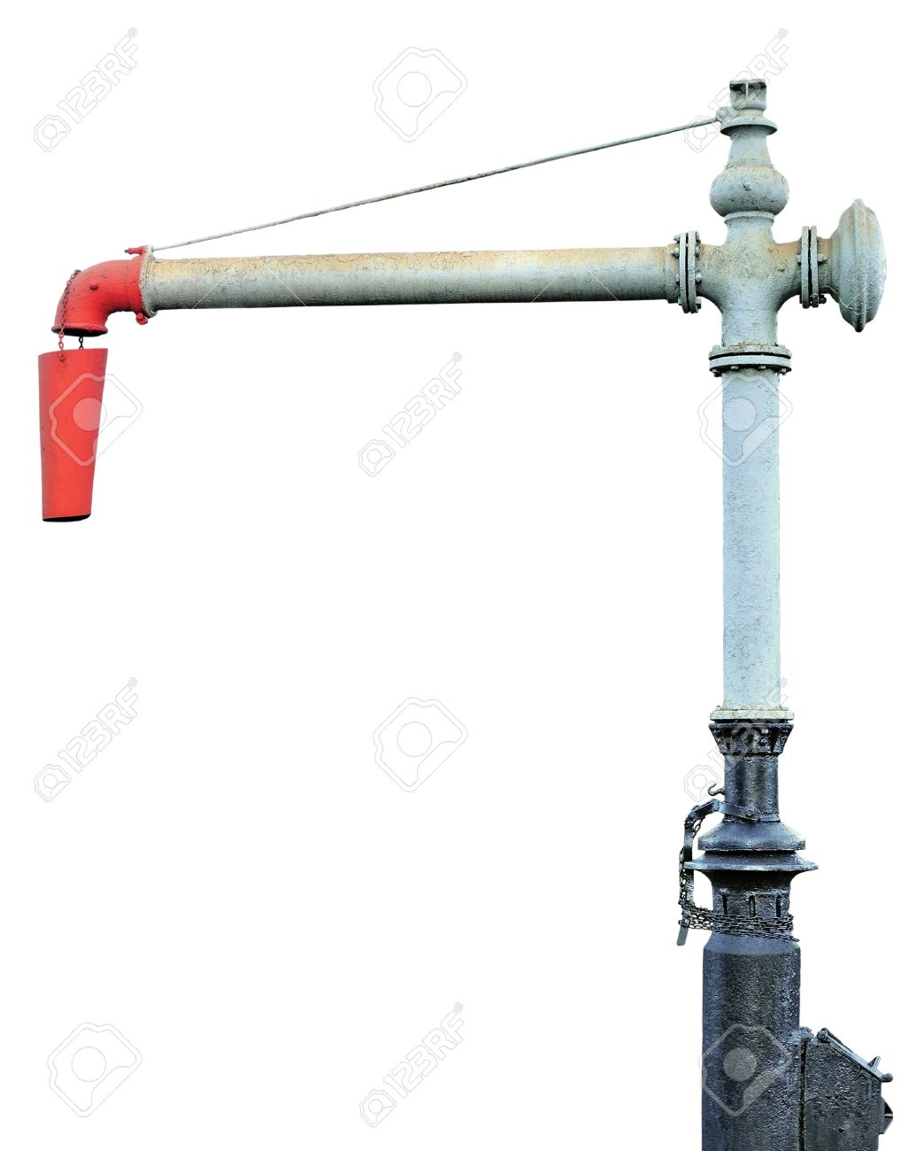 Steam Train Locomotive Engine Water Crane Column Standpipe Spout, Railroad Station Railway Tracks Watering Supply Tanking Service, Historical Filler Stop Device Utility, Old Aged Weathered Isolated Grunge Vintage Abandoned, Black, Grey, Gray, Red Cast Iro - 16047735
