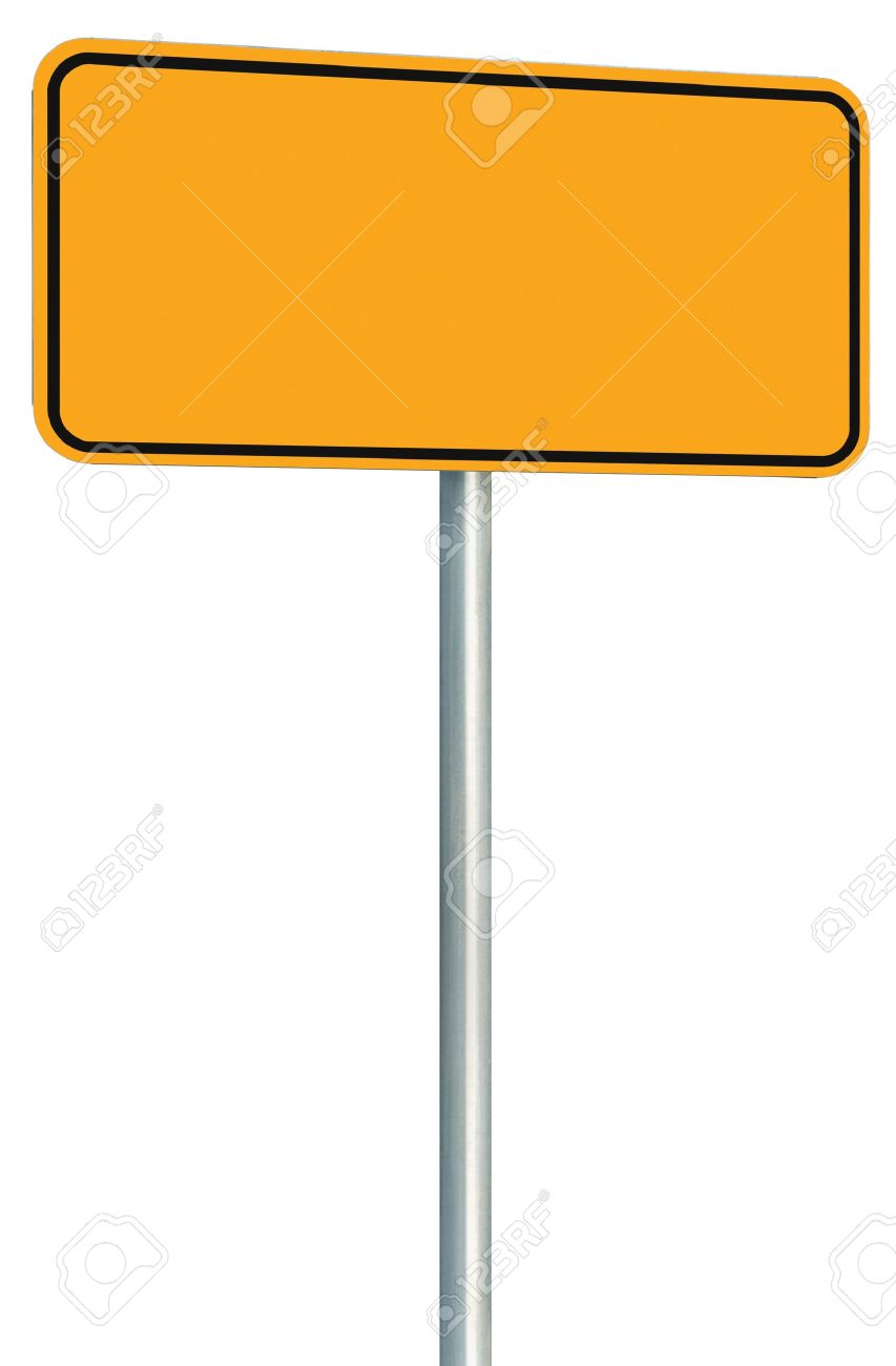blank yellow road sign isolated large perspective warning copy