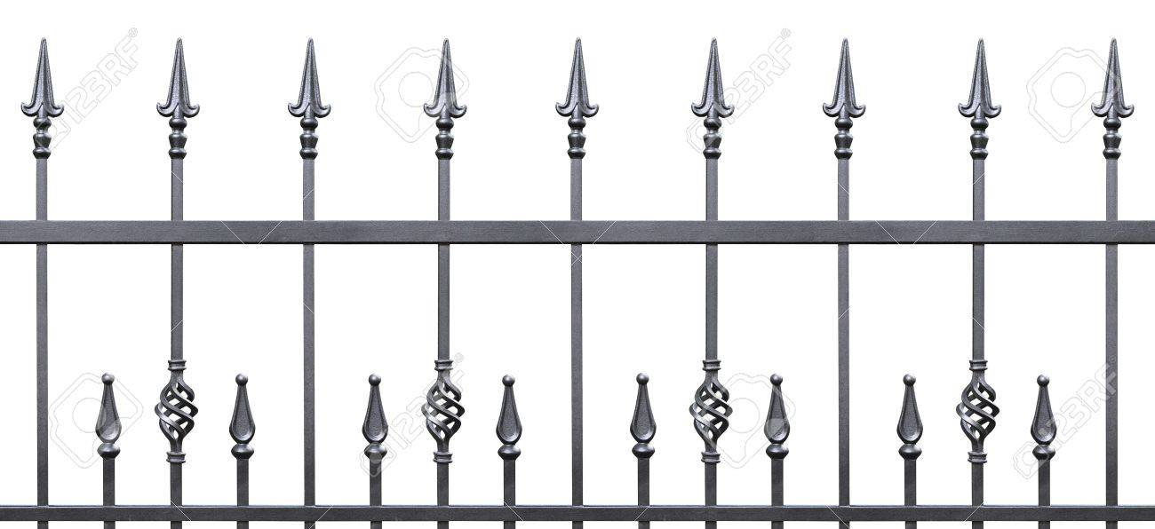 Forged decorative fence isolated horizontal panorama, large panoramic silhouette, wrought iron fleur-de-lis lattice Stock Photo - 16527572