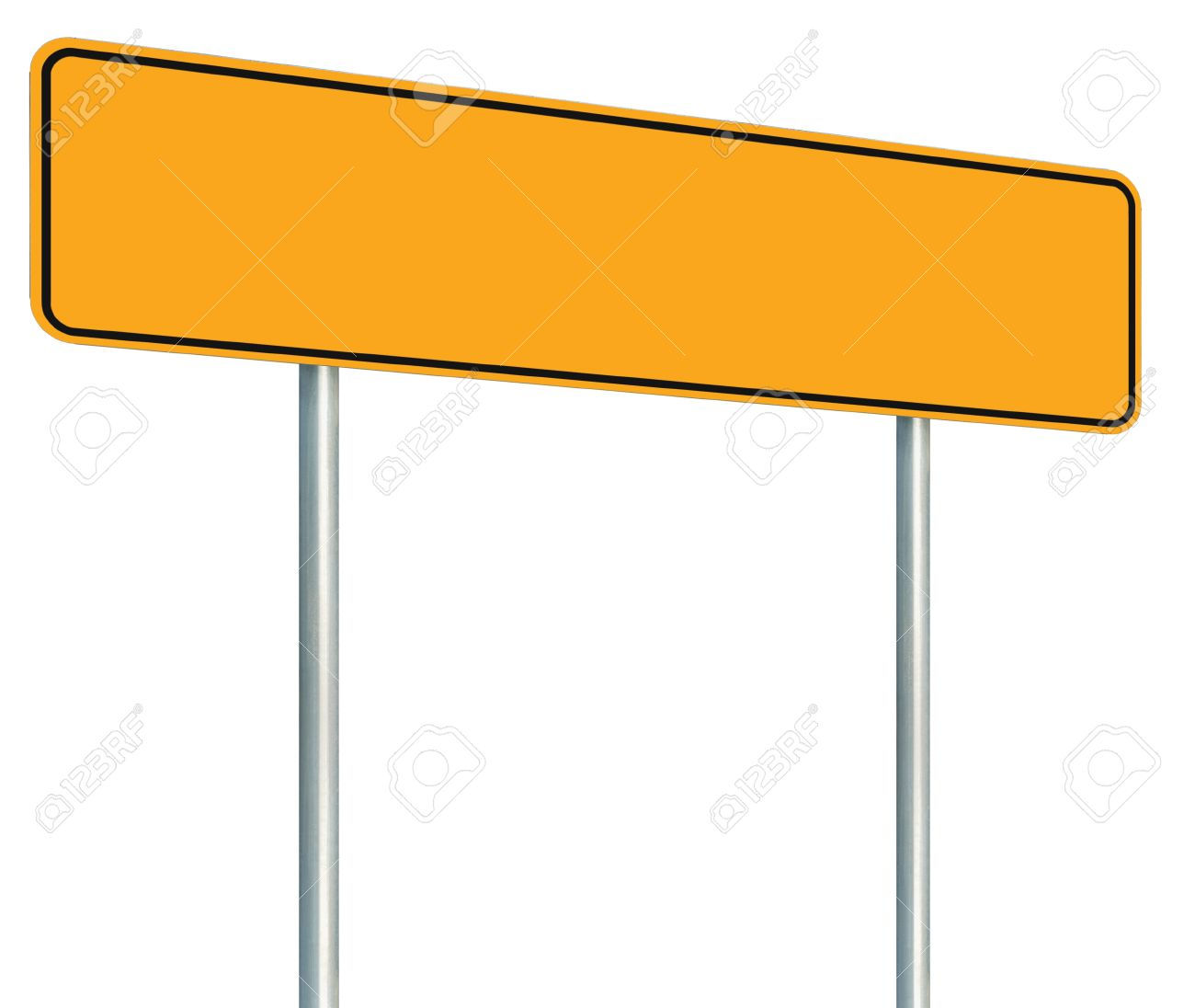 Blank Yellow Road Sign, Isolated Large Warning Copy Space, Black Frame Roadside Signpost Signboard Pole Post Empty Traffic Signage Perspective Stock Photo - 20363937