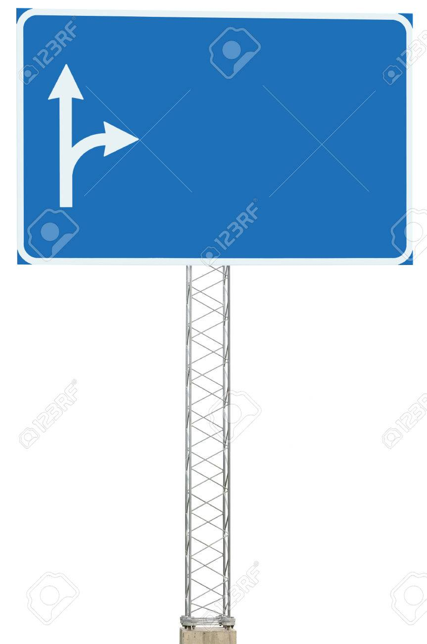 Motorway Road Junction Driving Direction Info Sign Panel Signboard, Large Isolated Blank Empty Blue Copy Space Roadside Traffic Signage Pole Post, White Route Arrows, Reinforced Signpost, Concrete Base, Bolts Stock Photo - 23330472