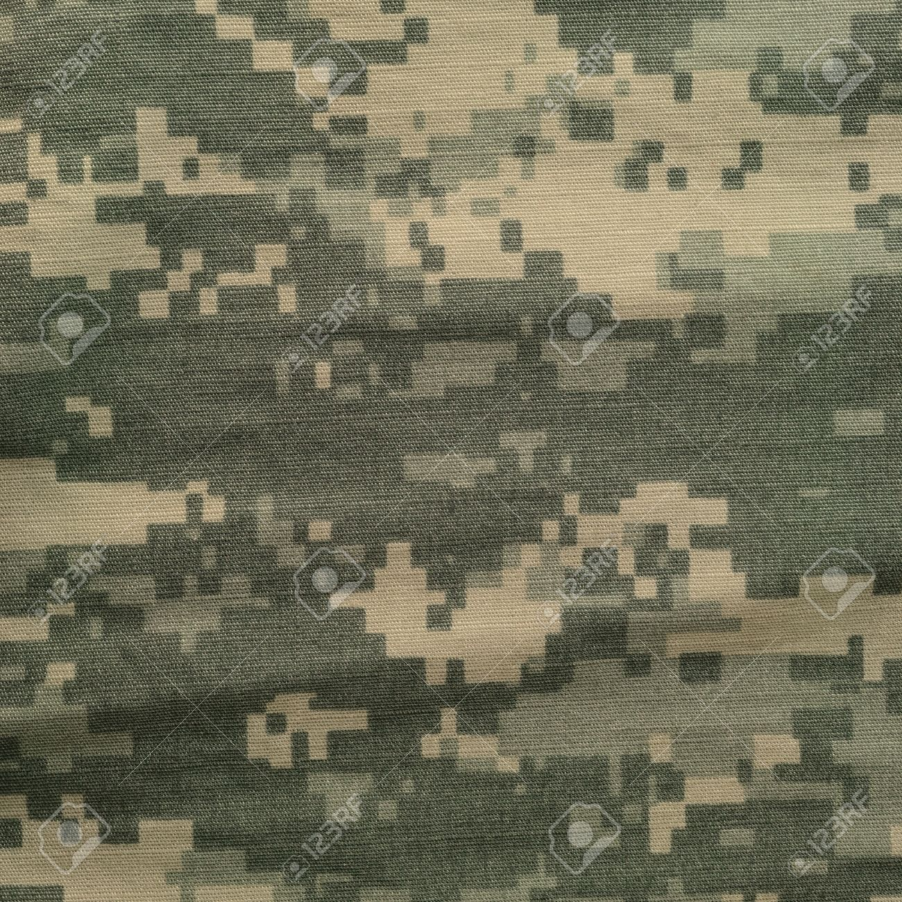 Army Combat Uniform Digital Camo USA Military ACU Macro Closeup Detailed Large Rip Stop Fabric Texture Background Crumpled Wrinkled Foliage Green