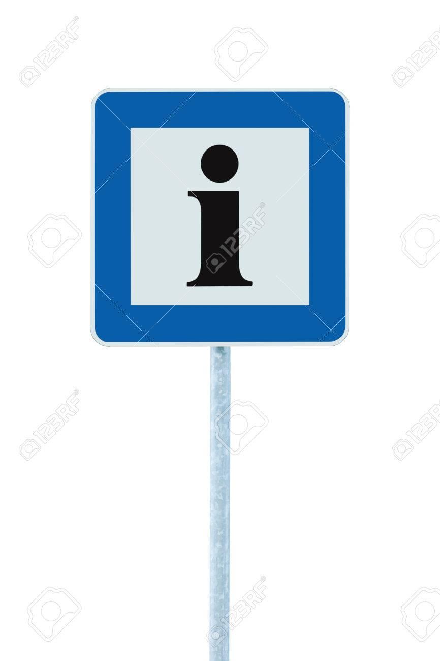 Info Signo En Azul, Icono Letra I Negro, Marco Blanco, Aislado En ...