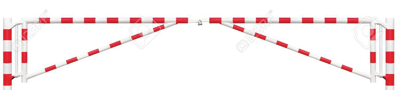 Gated Road Double Traffic Barrier Panorama Closeup, Roadway Gate Bar In Bright White And Red, Entry Stop Block And Vehicle Security Point Gateway, Panoramic Gated Isolated Closed Way Entrance Checkpoint, Locked Restricted Area Blocker Padlock - 50092067