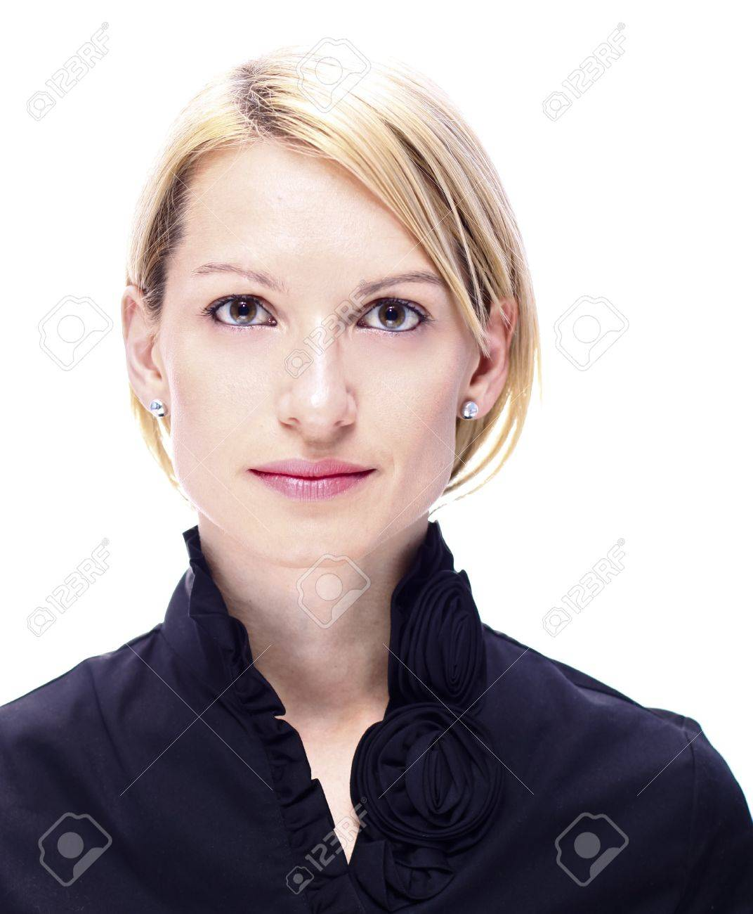 Portrait of a successful,  elegant, atractive, business woman wearing black blouse. Stock Photo - 9150734