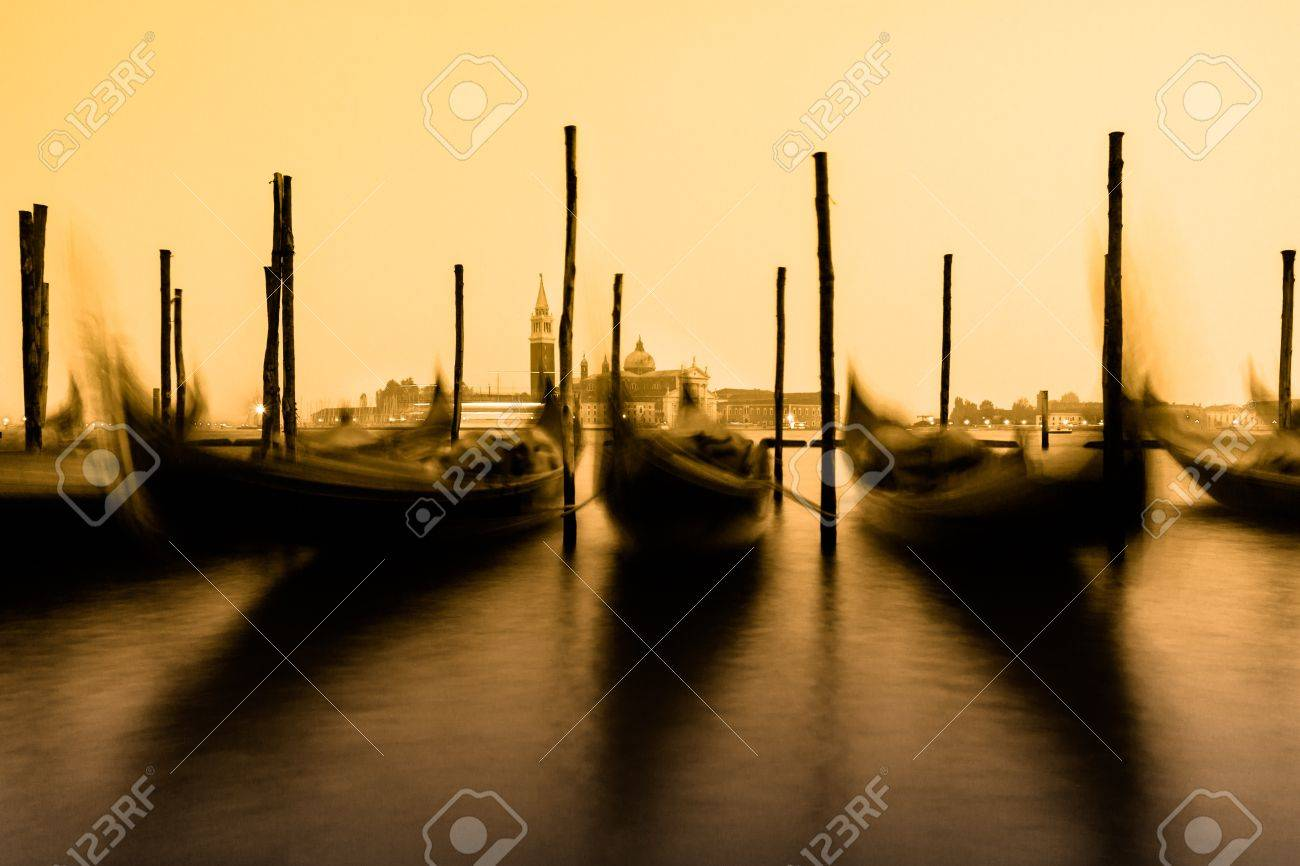 Venice in the evening light with gondolas on Grand Canal against San Giorgio Maggiore church. Italy, Europe. Stock Photo - 20147416