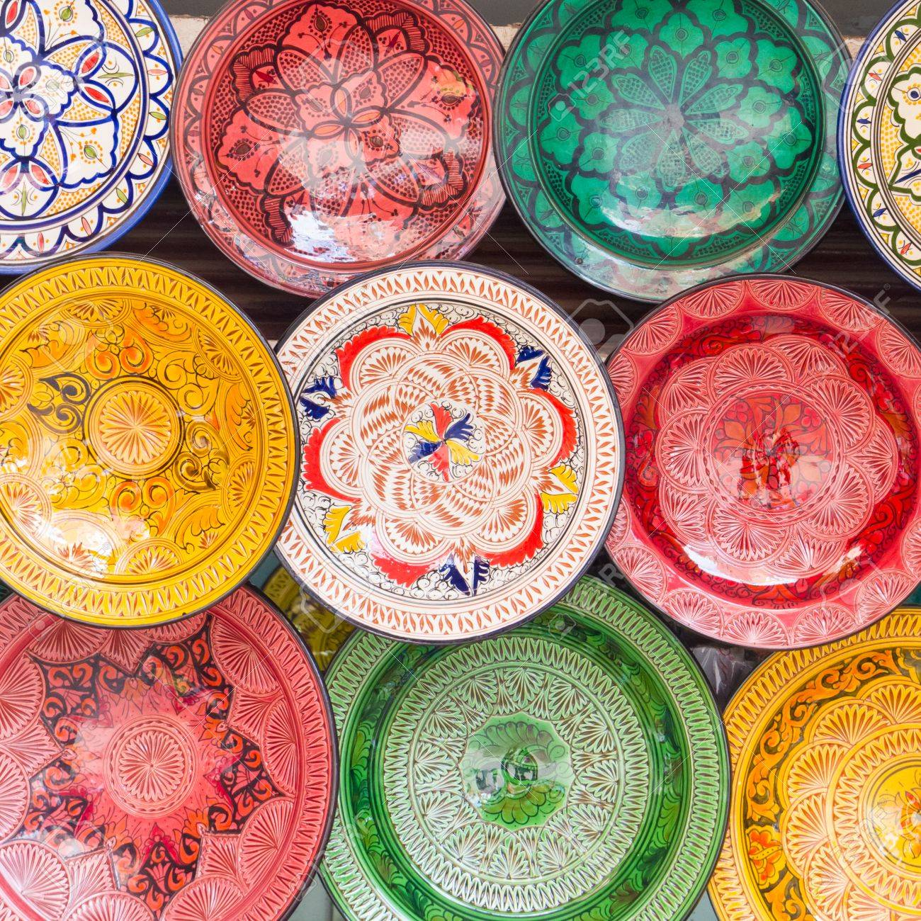 Stock Photo - Traditional arabic handcrafted colorful decorated plates shot at the market in Marrakesh Morocco Africa.  sc 1 st  123RF.com & Traditional Arabic Handcrafted Colorful Decorated Plates Shot ...