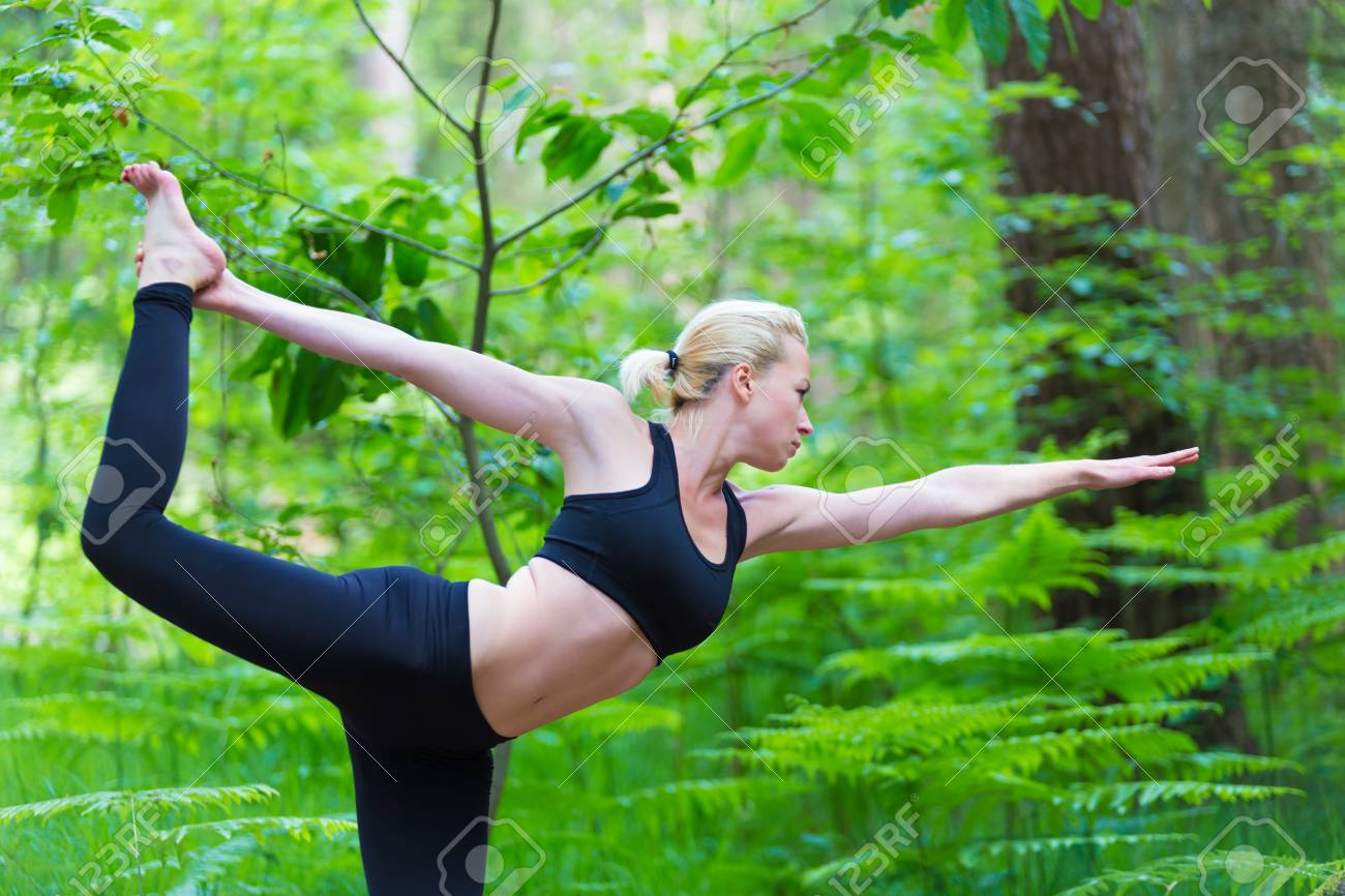 Young Caucasian Lady Is Practicing Bikram Yoga Pose In The Nature Stock Photo Picture And Royalty Free Image Image 28953503