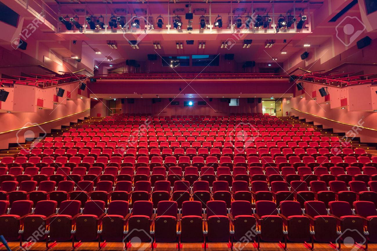 Interior of modern empty red congress hall. - 62386739