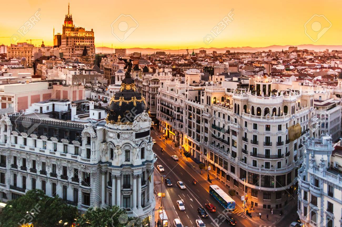 Panoramic aerial view of Gran Via, main shopping street in Madrid, capital of Spain, Europe. Standard-Bild - 64312576