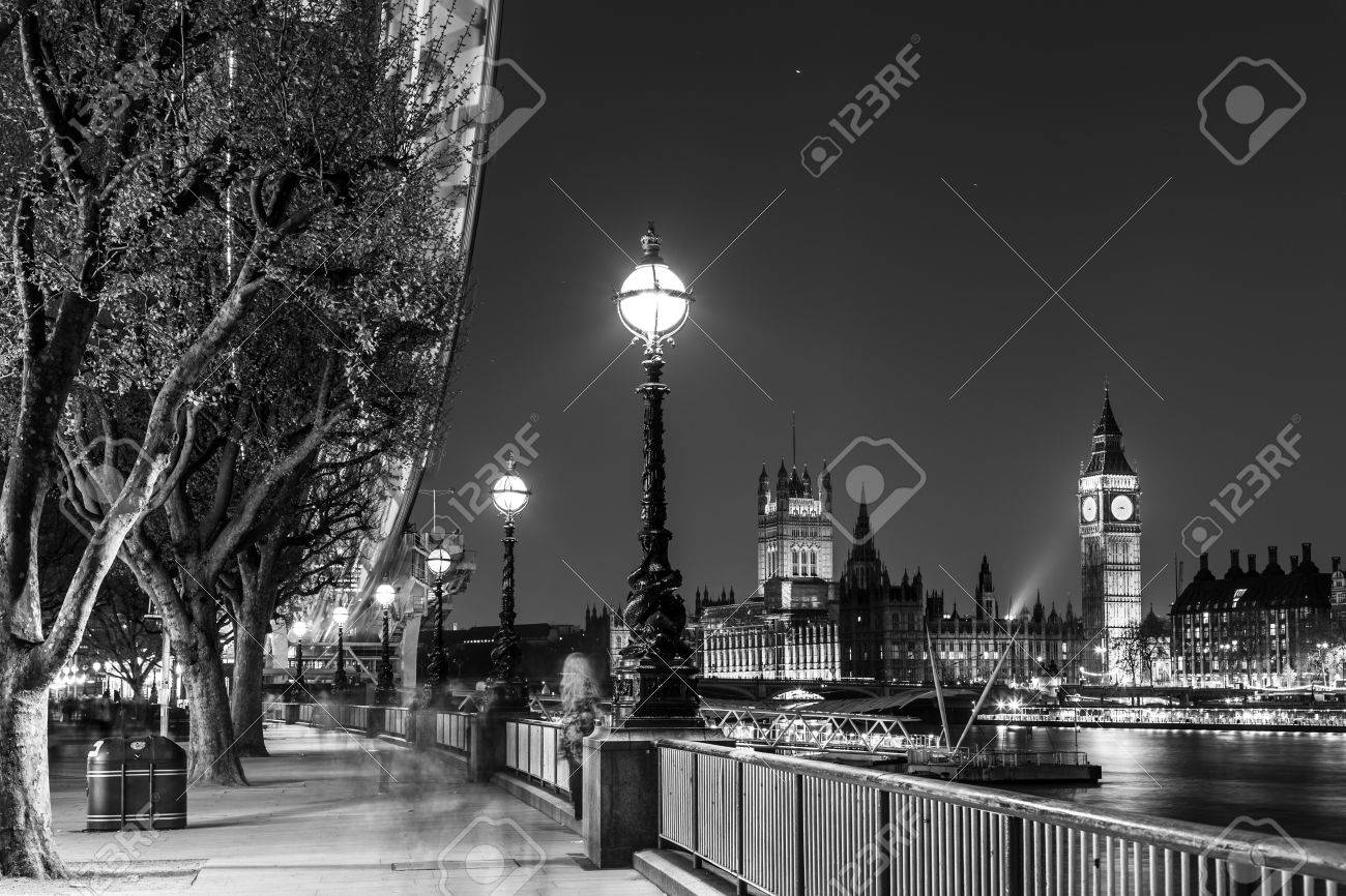 Black And White Artistic Night Photo Of London Eye Big Ben Houses Parliament