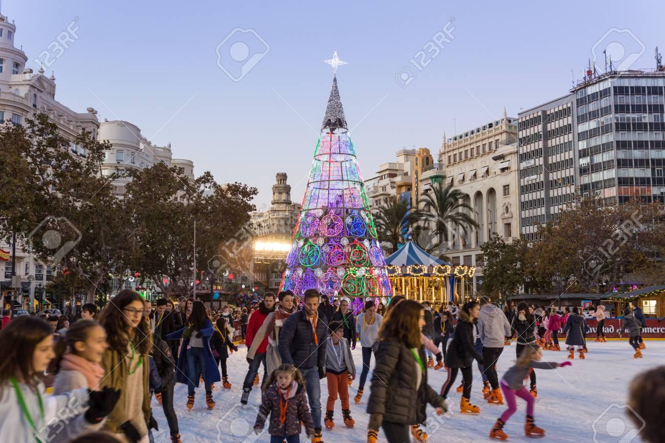 Christmas Ice Skating.Valencia Spain Dec 16 2017 People Ice Skating On Christmas