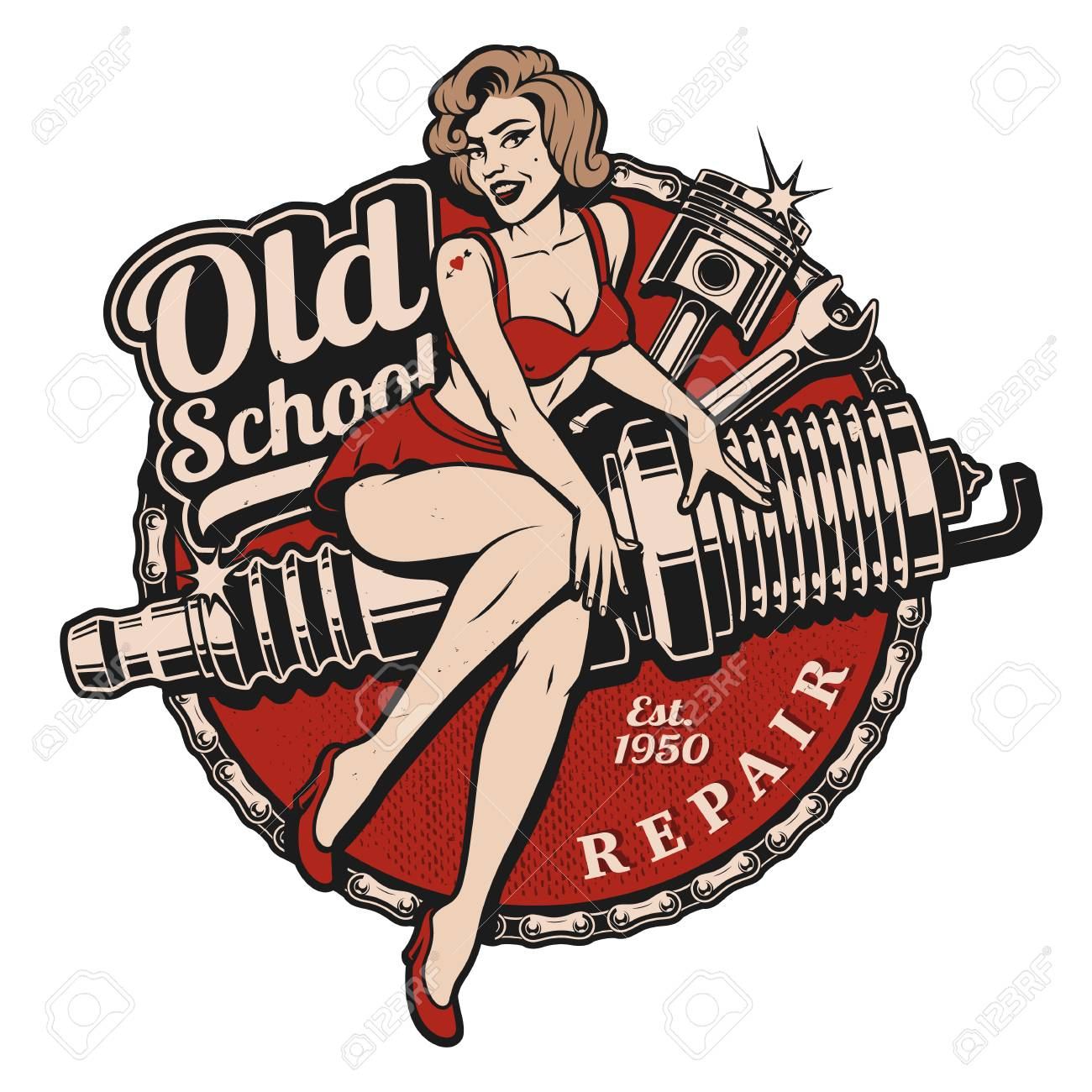 Spark Plug Pin Up Girl illustration with piston and wrench. Vintage style. All elements, text are on the separate layer. - 96908350