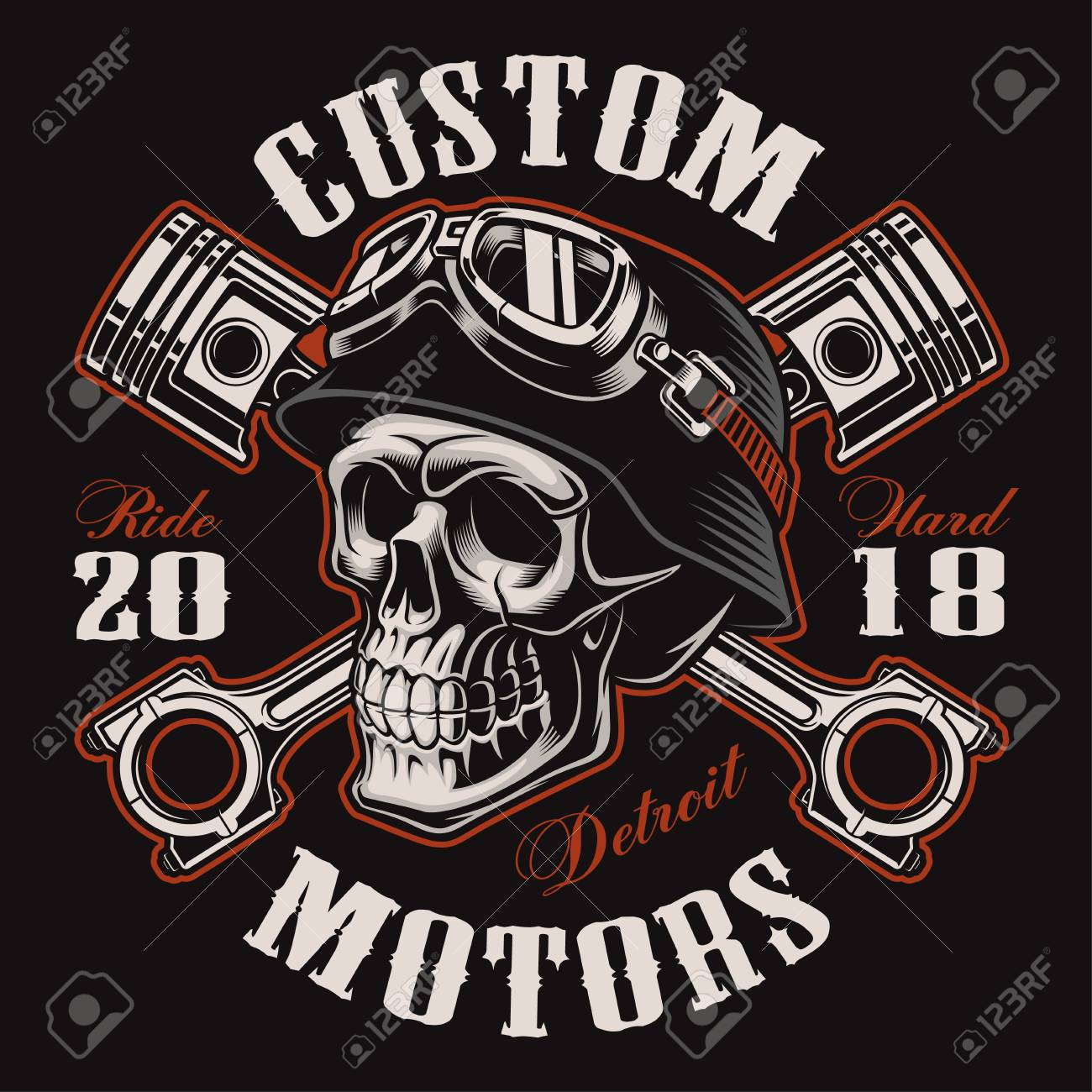 237a8e7850573 Biker skull with crossed pistons. Stock Vector - 98170727