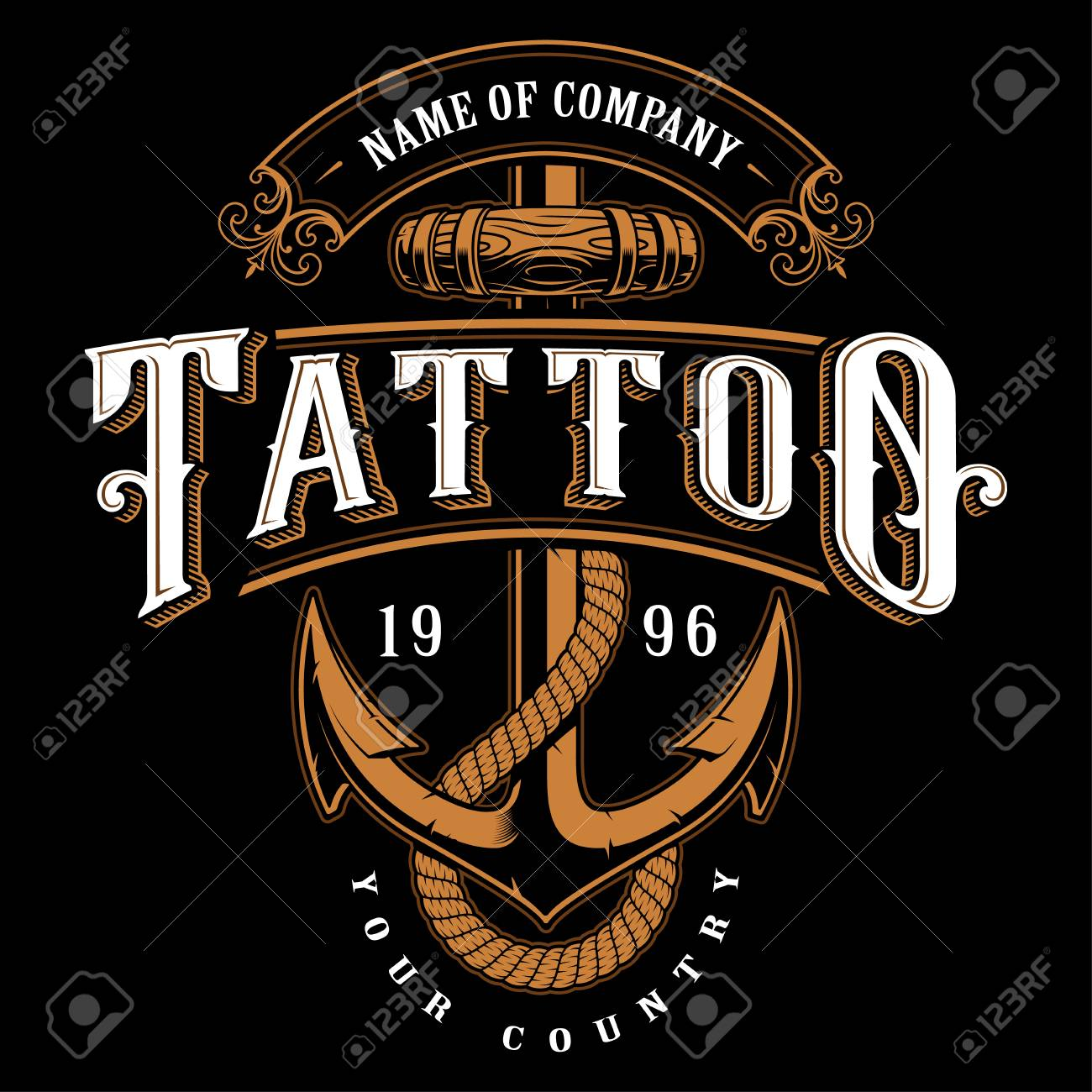 Tattoo Lettering Illustration With Anchor Logo Template Design Shirt Graphic On Black Background