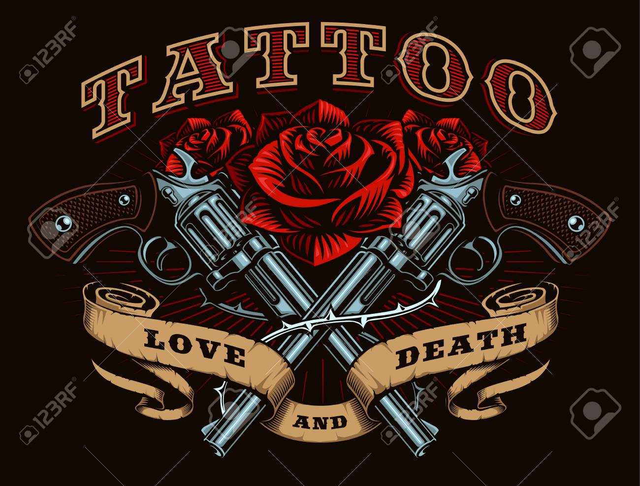 Guns And Roses Tattoo Design Tattoo Art With Revolvers Roses