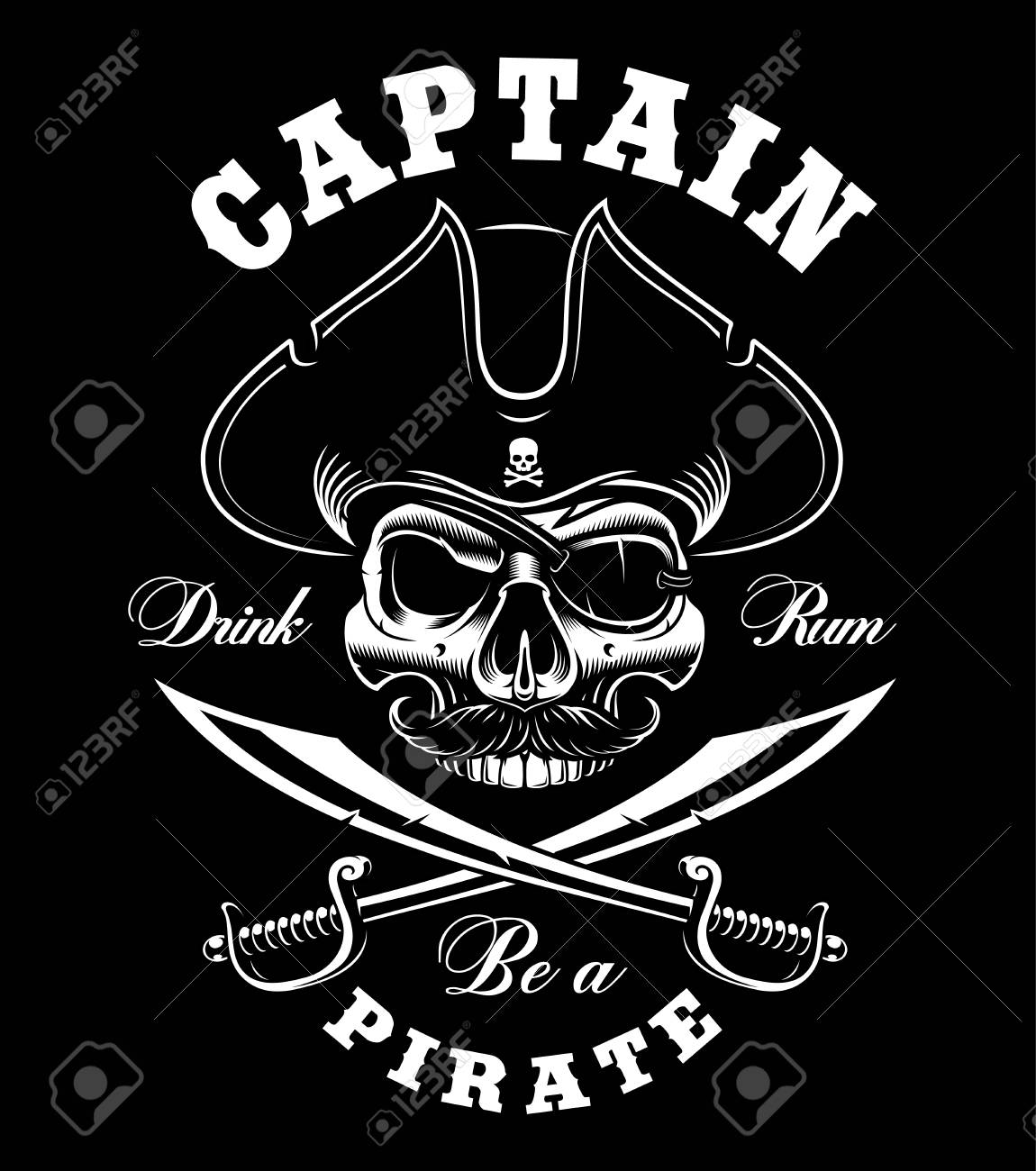 Vintage pirate skull on dark background vector illustration vintage pirate skull on dark background vector illustration text is on the separate layer buycottarizona Images