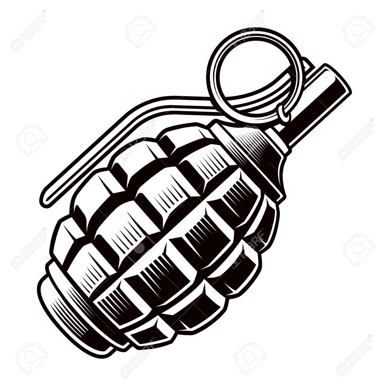 grenade vector black and white illustration royalty free cliparts rh 123rf com  hand grenade vector free