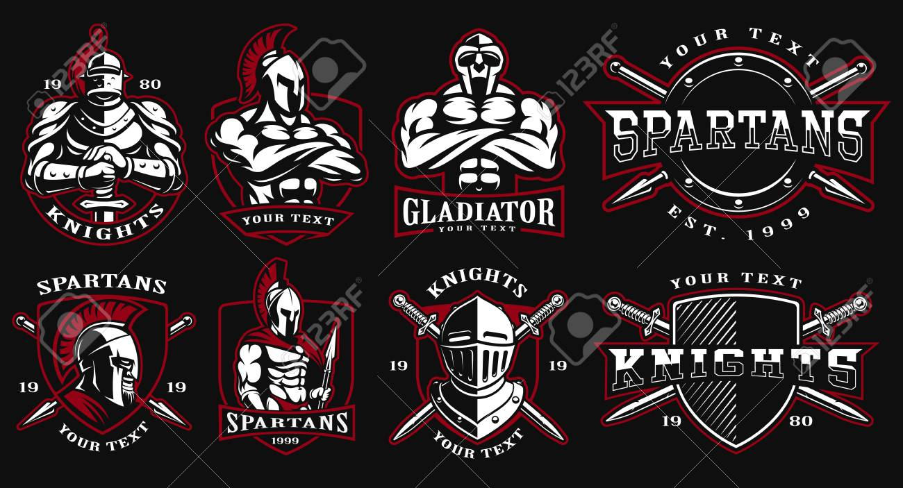 Set of logos, badges with ancient warriors  vector illustration
