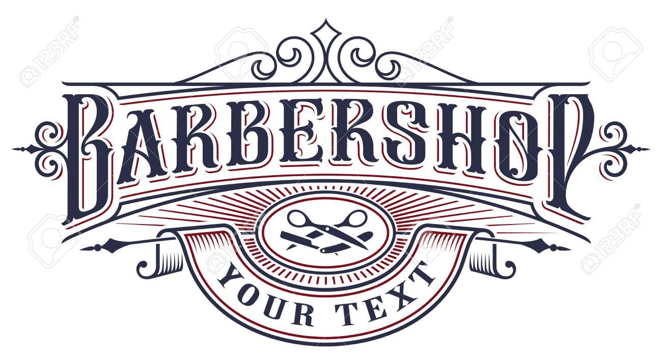 Barbershop logo design on the white background. - 103775565
