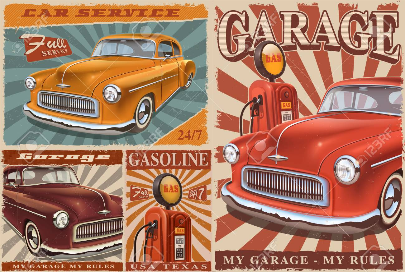 set of vintage car posters stock photo 103775618