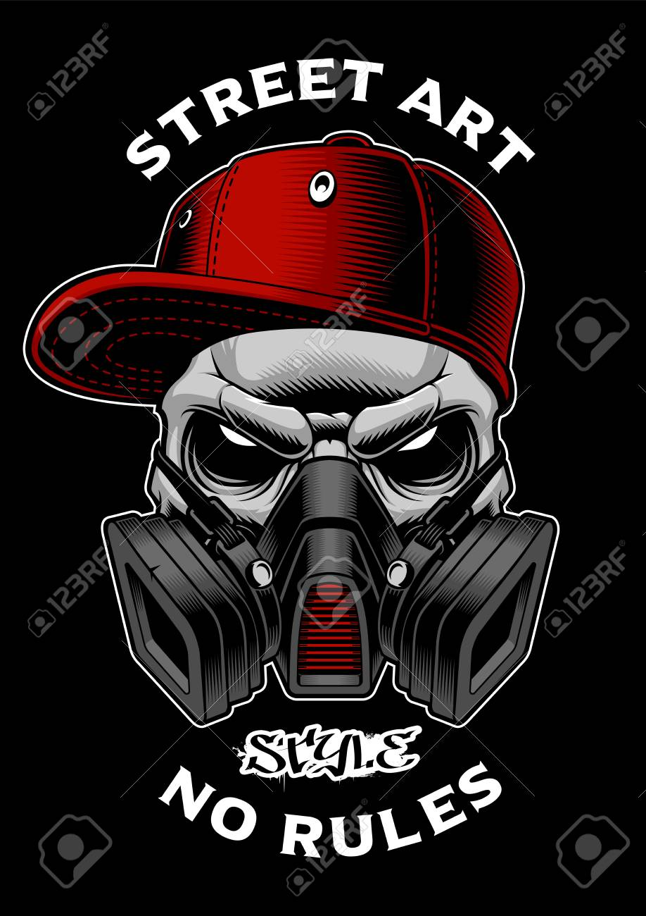 Graffiti skull with gas mask stock vector 105223997
