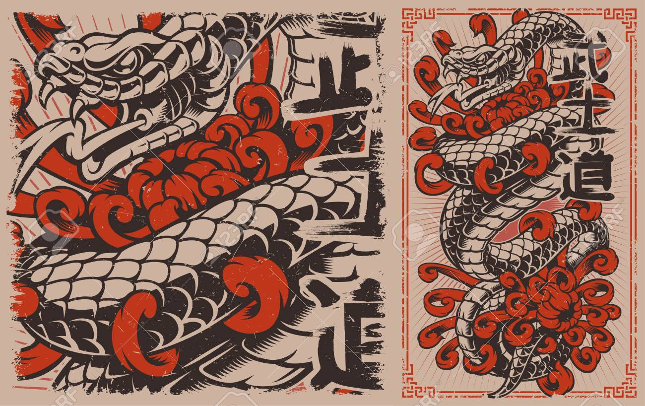 Japanese Snake Tattoo Design Viper And Chrysanthemums In Japanese