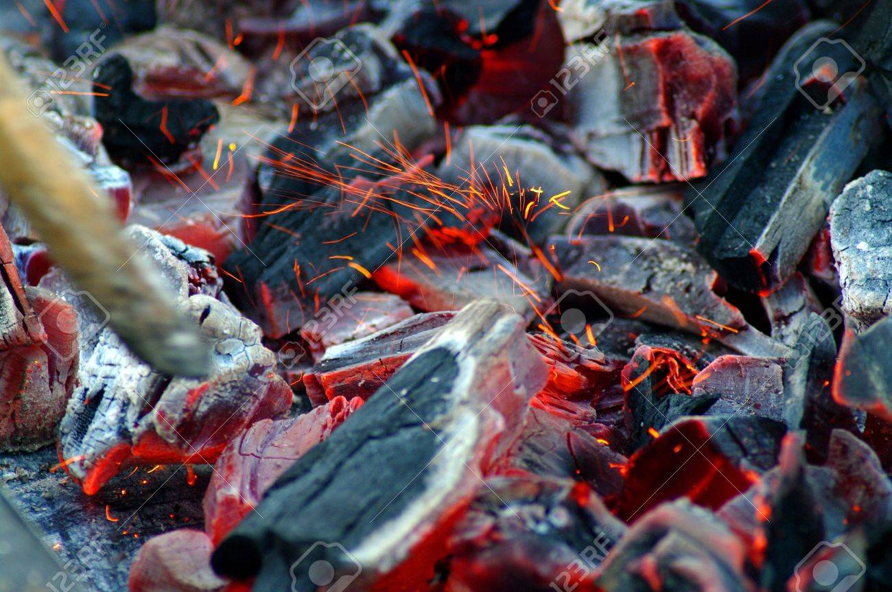 Burning fire wood. Hot embers Stock Photo - 17180203