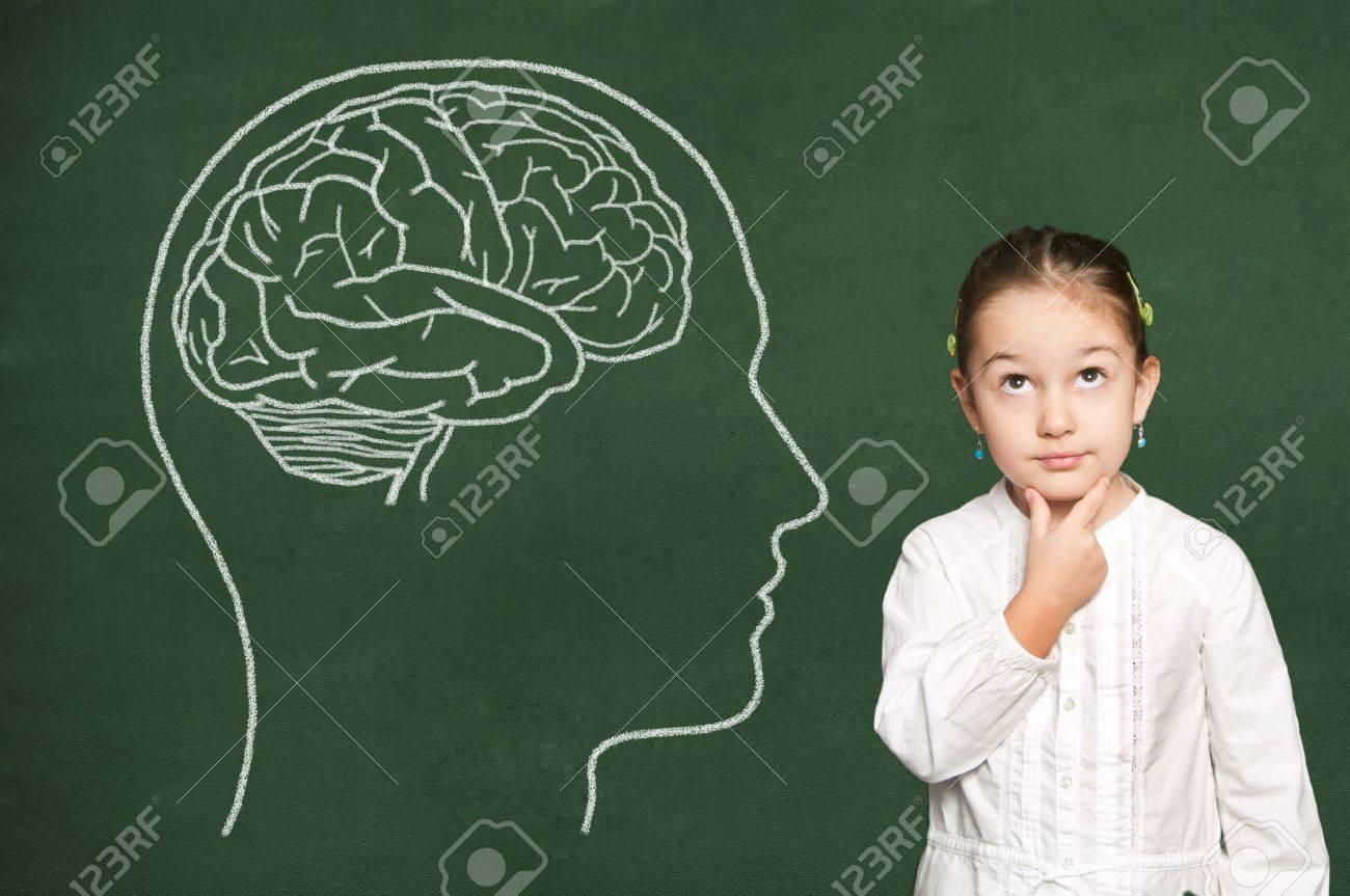 Brain in head on green chalkboard - 19569823