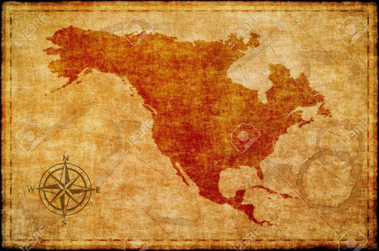 Old North America Map.Old North America Map On Parchment Stock Photo Picture And Royalty