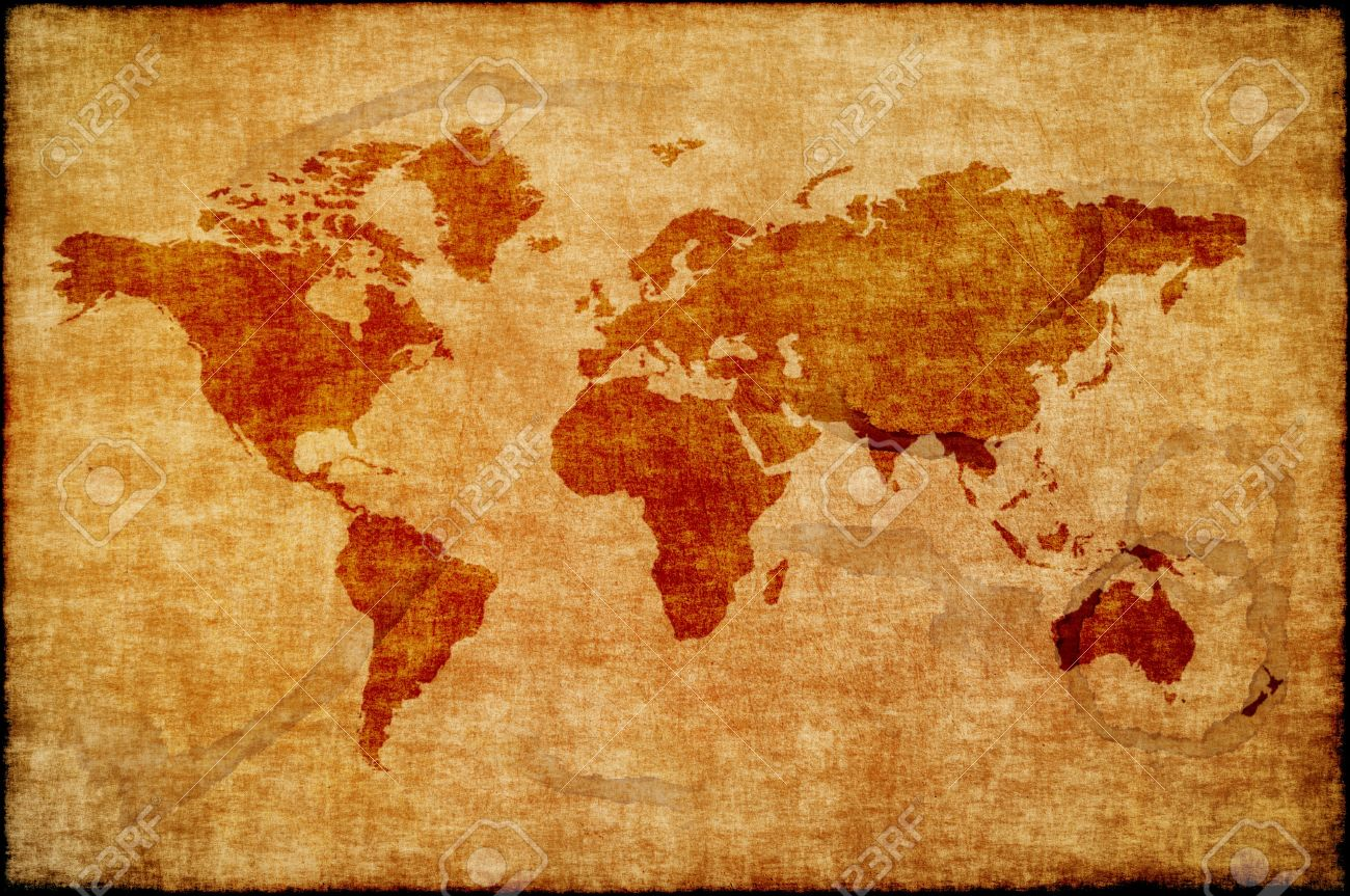 World Map On Old Paper Stock Photo Picture And Royalty Free Image