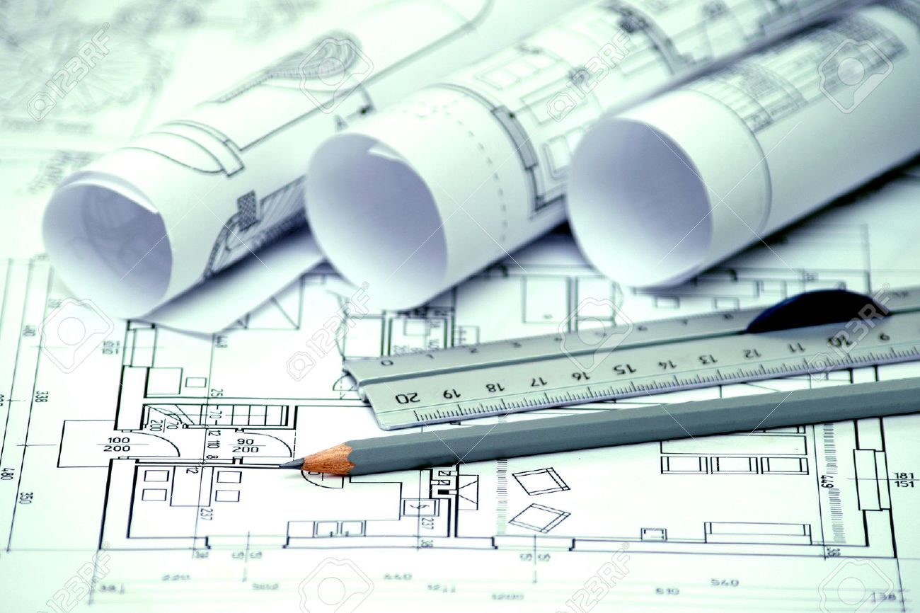 Heap Of rchitectural Design nd Project Blueprints Drawings ... - ^