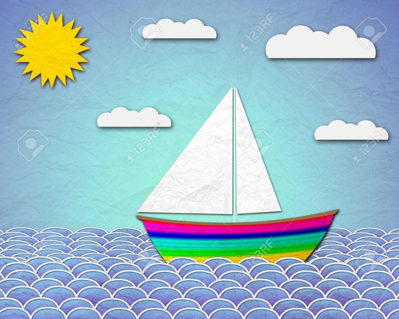 paper boat sailing at sea